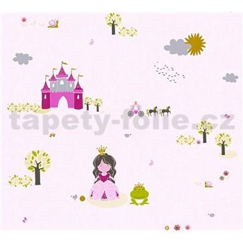 Dětské vliesové tapety na zeď Little Stars princezna a žabka na růžovém podkladu