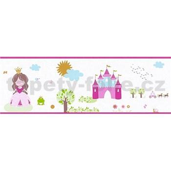 Dětské vliesové bordury Little Stars princezna a žabka na bílém podkladu