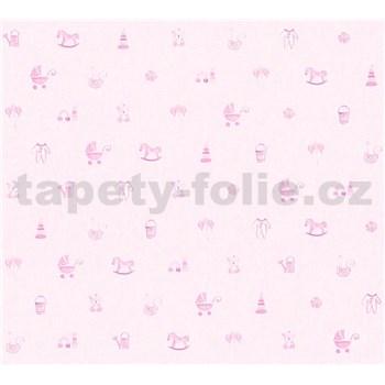 Dětské vliesové tapety na zeď Little Stars dětské hračky růžové