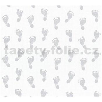 Dětské vliesové tapety na zeď Little Stars dětské stopy stříbrné