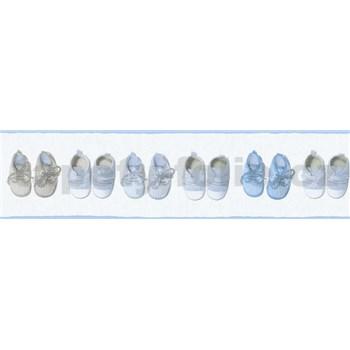Dětské vliesové bordury Little Stars bačkůrky modro-hnědé