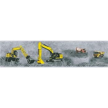 Dětské vliesové bordury Little Stars stavební stroje žluté na šedém podkladu