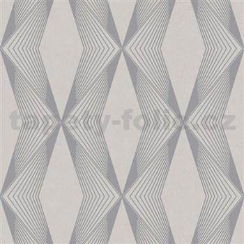 Vliesové tapety na zeď LIVIO geometrický vzor šedý na hnědém podkladu