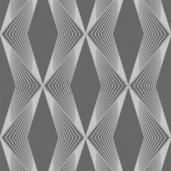 Vliesové tapety na zeď LIVIO geometrický vzor šedý na černém podkladu