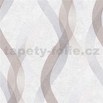 Vliesové tapety na zeď LIVIO vlnovky modro-hnědé na krémovém podkladu
