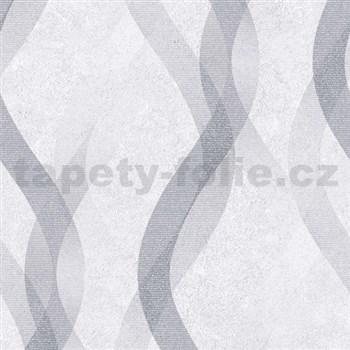 Vliesové tapety na zeď LIVIO vlnovky šedo-stříbrné na šedém podkladu MEGA SLEVA