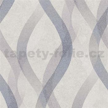 Vliesové tapety na zeď LIVIO vlnovky černo-šedé na hnědém podkladu