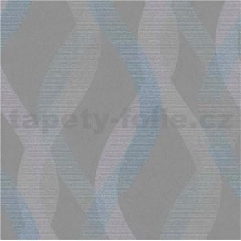 Vliesové tapety na zeď LIVIO vlnovky modro-stříbrné na hnědém podkladu