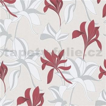 Vliesové tapety na zeď IMPOL Luna velké lesklé květy červeno-stříbrné