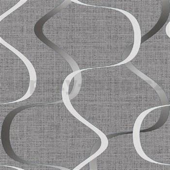 Vliesové tapety na zeď IMPOL Luna2 vlnovky šedo-bílé na šedém podkladu