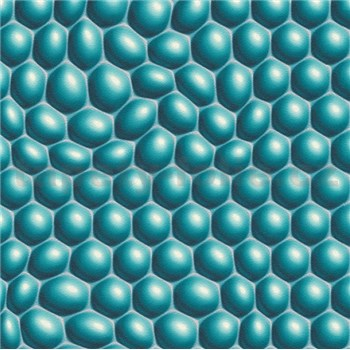 Vliesové tapety na zeď Harmony Mac Stopa 3D bubliny tyrkysové
