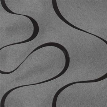 Vliesové tapety na zeď Colani Visions vlnovky černé na stříbrném podkladu