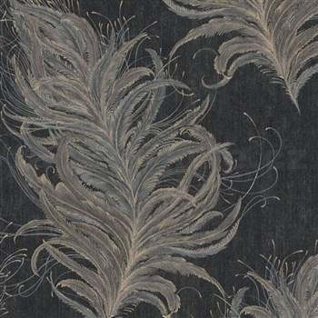 Vliesové tapety IMPOL Mata Hari peříčka se zlatými detaily na černém podkladu