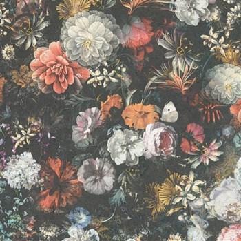 Vliesové tapety IMPOL Mata Hari květinová stěna na šedém podkladu