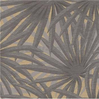 Vliesové tapety na zeď IMPOL Metropolitan Stories palmové listy šedé na matně zlatém podkladu