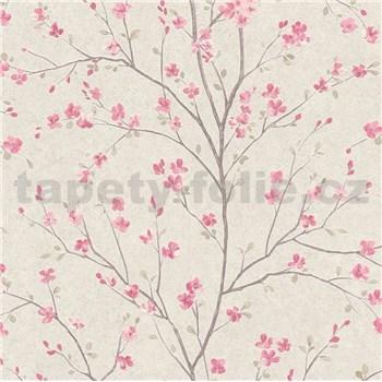 Vliesové tapety na zeď IMPOL Metropolitan Stories růžové sakury na béžovém podkladu