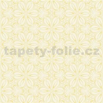 Vliesové tapety na zeď Mixing květinky vytlačované žluté