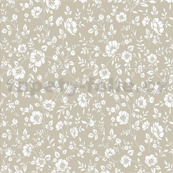 Vliesové tapety na zeď Mixing květy bílé na hnědém podkladu