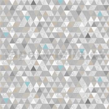 Vliesové tapety na zeď Modern trojúhelníky šedo-modré se vzorem - POSLEDNÍ KUSY