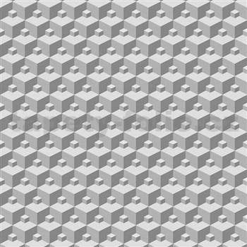 Vliesové tapety na zeď Modern 3D kostky šedé