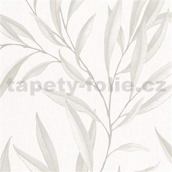 Vliesové tapety na zeď IMPOL Modernista listy krémové s laserovým efektem na bílém podkladu
