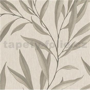 Vliesové tapety na zeď IMPOL Modernista listy niklové s laserovým efektem na hnědém podkladu