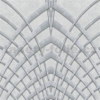 Vliesové tapety na zeď IMPOL Modernista Art Deco stříbrná na šedém podkladu