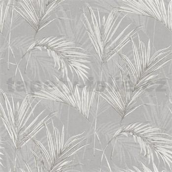 Vliesové tapety na zeď My Raid listy šedo bílé na šedém podkladu
