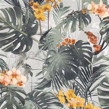 Vliesové tapety na zeď My Raid palmové listy s žlutými květy orchidejí na šedém podkladu