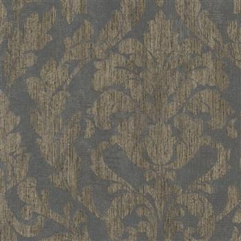 Vliesové tapety na zeď Nabucco zámecký vzor zlatý na tmavě šedém podkladu