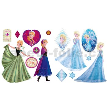 Samolepky na zeď Frozen Anna a Elsa