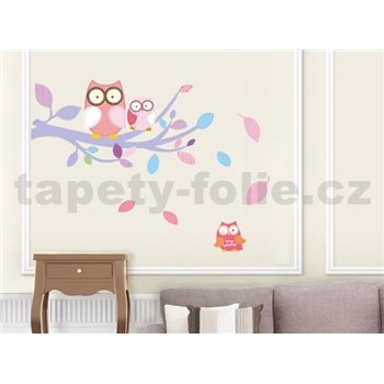 Samolepky na zeď sovy růžové