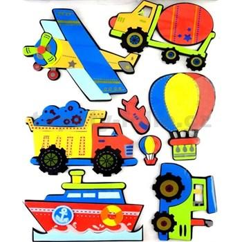 3D samolepicí dětská dekorace, stavební stroje, 41 x 29 cm