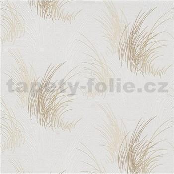 Vliesové tapety na zeď Natalia tráva hnědá na bílém podkladu - POSLEDNÍ KUSY