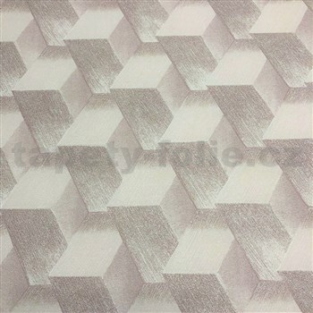 Vliesové tapety na zeď Natalia 3D kostky hnědé s třpytkami