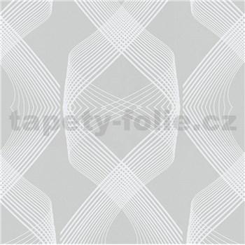 Vliesové tapety na zeď Natalia 3D geometrický vzor bílý na šedém podkladu