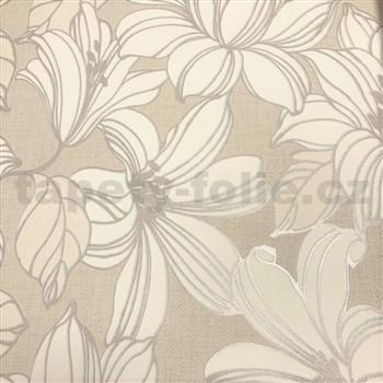 Vliesové tapety na zeď Natalia velké květy s šedými konturami na hnědém podkladu