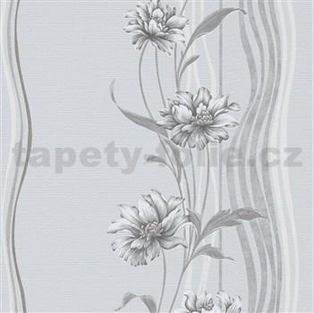 Vliesové tapety na zeď Natalia květy šedé na podkladu s vlnovkami