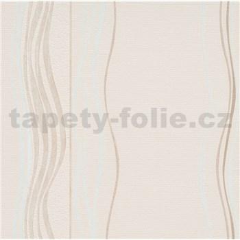 Vliesové tapety na zeď Natalia vlnovky bílo-hnědé na hnědé struktuře
