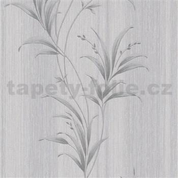 Vliesové tapety na zeď Natalia listy šedé se stříbrnými odlesky