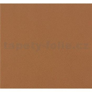 Vliesové tapety na zeď NENA kolečka tečkované cihlově hnědé