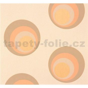 Vliesové tapety na zeď NENA moderní bubliny hnědo-oranžové