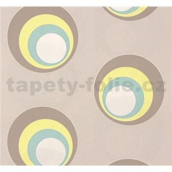 Vliesové tapety na zeď NENA moderní bubliny žluto-hnědé