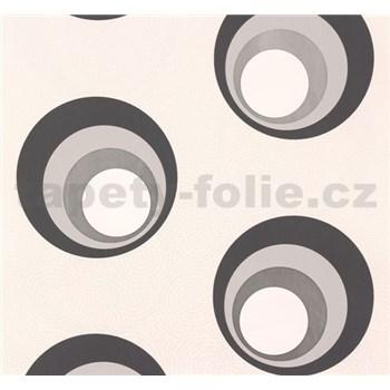 Vliesové tapety na zeď NENA moderní bubliny šedo-stříbrné