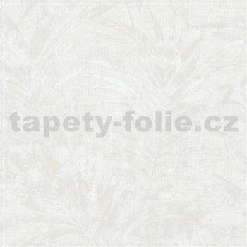 Vliesové tapety na zeď IMPOL NEU listy palmy bílé metalické na krémovém podkladu