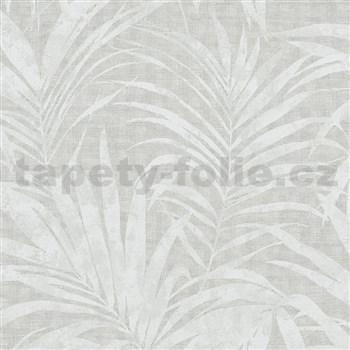Vliesové tapety na zeď IMPOL NEU listy palmy bílo-šedé metalické na šedém podkladu