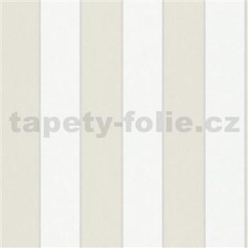 Vliesové tapety na zeď IMPOL NEU hnědo-bílé pruhy s metalickými proužky