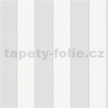 Vliesové tapety na zeď IMPOL NEU šedo-bílé pruhy s metalickými proužky