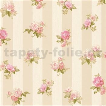 Vliesové tapety na zeď IMPOL Romantico růžové květy na hnědo-krémových pruzích