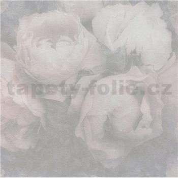Vliesové tapety IMPOL New Wall květy velké šedo-růžové